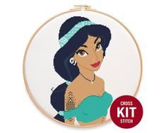 Your place to buy and sell all things handmade Cross Stitch Embroidery, Cross Stitch Patterns, Disney Princess Jasmine, Modern Disney, Dmc Floss, Perler Patterns, Stitch Kit, Aladdin, Point