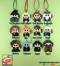 Harry Potter Christmas Ornaments I Harry Potter Christmas Gift Tags --------------------------------------------------------------------------------------- Our Harry Potter inspired mini ornaments are perfect for decorating mini Christmas trees, for using as gift tags, or stuffing your favorite Potterheads stocking! Each character is created from original Madam FANDOM Pixel Art for a truly unique addition to your holiday decor. (Ornaments are pictured on a 14 inch mini tree) The characters…