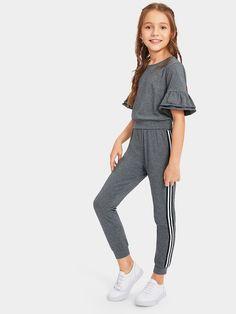 56670108e6 Girls Layered Ruffle Cuff and Striped Leggings Set -SHEIN(SHEINSIDE) How To  Wear