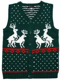 Men's Reindeer Double Date Cardigan (White) | Christmas cardigan ...