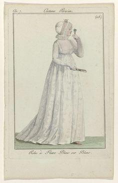 Journal des Dames et des Modes, Costume Parisien, 1799, An 7 (118) : Robe à Fleurs Blanc..., Anonymous, 1799