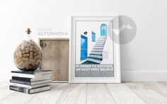 A personal favourite from my Etsy shop https://www.etsy.com/listing/535630049/santorini-travel-poster-wall-art-printed