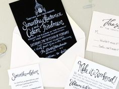 I love a modern twist on a classic black and white wedding invitation! J from Grey Snail Presssent over these New York City wedding invitations featuring her hand lettering and custom illustrations of New York icons like the Statue of Liberty and Empire State Building. I'm particularly loving the white ink on black paper for […]© 2008 - 2013, Oh So Beautiful Paper