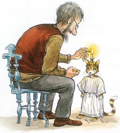 Pettson and Findus (bilderböcker) by Sven Nordqvist, Sweden Christmas Tale, Christmas Pictures, Children's Book Illustration, Illustrations, Winter Pictures, Photo Postcards, Crazy Cats, Cat Art, My Images