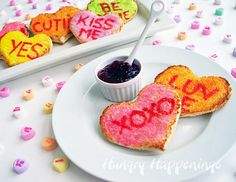 Conversation heart toast for Valentine's Day