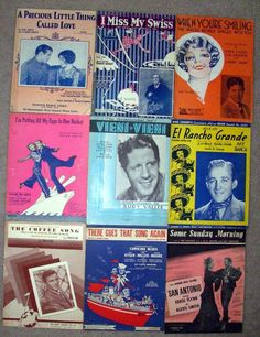 8A Collectible Paper Lot 9 Vintage Sheet Music Variety 1920's -1940's marie2art