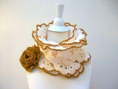 Handmade crochet neckwarmer autumn women accessories, winter - fall fashion,Wedding gift And fabric scarf gift. $55.00