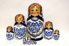 Russian Matryoshka 10pcs Gzhel beautiful handmade by EtsyGrail