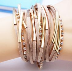 Fashion Handmand Suede Leather Bracelet With Crystal Chain And Gold / Silver Accents