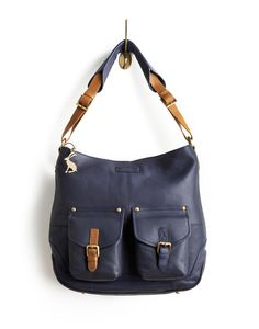 Womens Leather Bag, French Navy