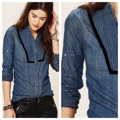 LowestFree People Bib Chambray Shirt Love this shirt but don't wear it, too pretty to just sit in my closet. This goes perfectly with the black skinnies listed  in my closet  Free People Tops Button Down Shirts