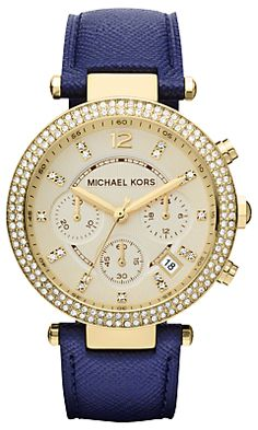 9b381de98fde4c Michael Kors Watch, Women s Chronograph Parker Navy Leather Strap - First    Macy s! - All Michael Kors Watches - Jewelry   Watches - Macy s