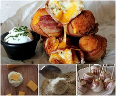 These Mash Potato Bacon Bombs will fly off the plate quickly. Mashed Potato Bombs, Mashed Potato Pancakes, Cheesy Mashed Potatoes, Cheesy Bacon Bombs, Appetisers, C'est Bon, Other Recipes, Vegetable Recipes, Food To Make