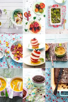 La Tartine Gourmande. Beautiful, Colorful, Inspirational website. Love the use of floral fabric and utensils.