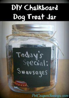 DIY Chalkboard Dog Treat Jar. Simple and cute! #diy #dogs #homemade http://petcouponsavings.com/diy-chalkboard-dog-treat-jar/