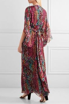 Matthew Williamson - Akita Embellished Printed Silk-chiffon Maxi Dress - Magenta - UK10