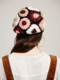 Gigi Crochet Beret | Beautiful beret style hat featuring retro-inspired multi-colored crochet.