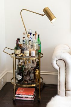 Contemporary Bar: Couch-side bar with reading light and all the party necessities..