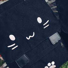 Women Canvas Cute Black Cat Backpack Shoulder Bag Rucksack Chic Bag