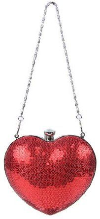 Shiny Sequin Heart Shaped Clutch Evening Bag Handbag w/Chain Strap, (christmas gift, clutch, evening bag, evening purse, handbag, heart, party, prom, shoulder bag, valentine day special)