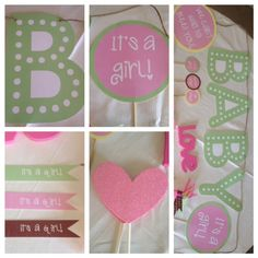 Baby Girl Baby shower with pink, mint green, brown and yellow