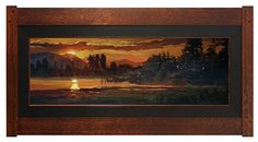 "Jan Schmuckal | Oil on canvas | ""This Solemn Hush"" | 12""x 36"" | Dard Hunter Craftsman-style frame | Arts & Crafts"