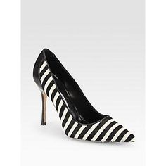 $855, White and Black Horizontal Striped Leather Pumps: Manolo Blahnik Niteroi Striped Pony Hair Leather Pumps Black White. Sold by Saks Fifth Avenue. Click for more info: http://lookastic.com/women/shop_items/134055/redirect