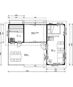 Alisa Vainio -mallistonSaunamökit ovat suorakaiteen muotoisia pieniä mökkejä, joissa sauna liittyy pieneen loma-asuntoon tai saunatupaan joko katoksen välityksellä tai suoraan. Joko, Floor Plans, Diagram, Floor Plan Drawing, House Floor Plans