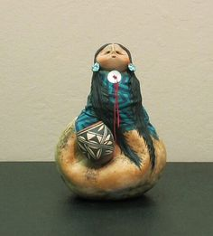"*Gourd Art - ""Apache Squat Pot Lady"" by Robert Rivera"