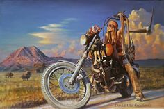 Free Spirit. Harley-Davidson Art, Vintage Motorcycle and Aviation Paintings, Designer Apparel - Uhl Studios, Golden, Colorado