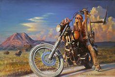 Free Spirit. Harley-Davidson Art, Vintage Motorcycle and Aviation Paintings, Designer Apparel - Uhl Studios, Golden, Colorado