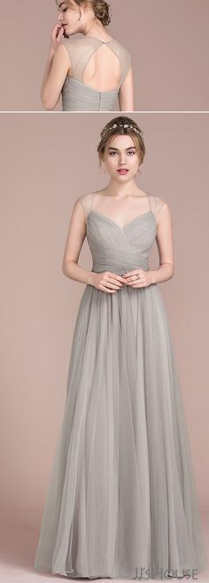 [£ A-Line/Princess Floor-Length Tulle Bridesmaid Dress With Ruffle Beading - JJ's House Evening Dresses, Prom Dresses, Formal Dresses, Long Dress Formal, Pretty Dresses, Beautiful Dresses, Tulle Bridesmaid Dress, Ruffle Beading, Wedding Party Dresses