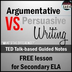 FREE - Lesson handout/guided notes, based on a TED talk, to help secondary students understand what the difference is between argumentative and persuasive writing! Argumentative Writing, Persuasive Writing, Teaching Writing, Writing Activities, Essay Writing, Teaching English, Resume Writing, Teaching Spanish, Writing Rubrics