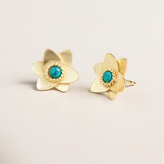 One of my favorite discoveries at WorldMarket.com: Gold and Turquoise Flower Stud Earrings