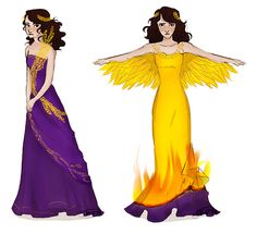 So, Reyna on the left is wearing the Roman version of Katniss' wedding dress except without all the fluffy stuff because Romans (and Reyna) wouldn't have dresses like that (but HG is a Roman-based novel and aslkdhf thats beside the point) and Reyna on the right is wearing a dress based off the Gold Eagle that was retrieved for the Twelfth Legion Fulminata. - tumblr