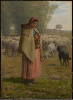 JEAN-FRANÇOIS MILLET FRENCH, 1814–1875  YOUNG GIRL GUARDING HER SHEEP c. 1860–62