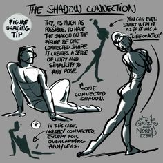 """Tuesday Tips (New, 2016) - The Shadow Connection When putting down areas of shadow on a figure, try to keep the shadow area """"connected"""" as much as possible. I say mostly connected because there will..."""