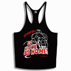 BODYBUILDING SPORT MUSCLE Y BACK STRINGER VEST GO HEAVY OR GO HOME! S M L XL XXL
