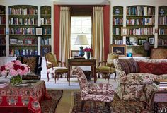 Nancy Hoguet House on Long Island's North Shore Photos | Architectural Digest [The living room's bookshelves are backed with Italian bookbinding paper.]