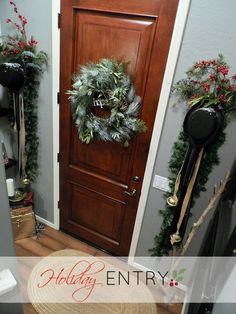 top hats with garland and bells, berry sprigs