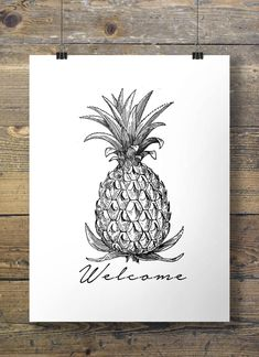Printable art | Welcome Pineapple | tropical vintage modern minimal illustrated sketch Printable wall art | digital print