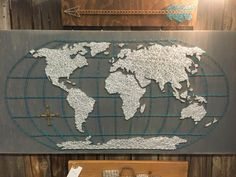 This World Map is one I have hanging in my own home. When I set out to make my version of the world map in string art I wanted it to be different. The compass was a must and I love adding other colors of interest to tie things together. This piece is 2 ft x 4ft!!! It comes ready to hang and is SUCH a conversation starter and eye catching piece!  This piece can also be customized for no extra charge. Pick whatever colors will work best for your unique space! P.S. This makes a perfect gift for…