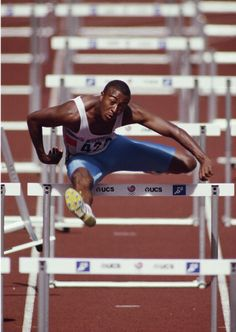 Colin Jackson of Great Britain during the Men's 110 metres Hurdles event at the XXIV Summer Olympic Games in 1988 at the Seoul Olympic Stadium in Seoul, Team Gb Olympics, Rio Olympics 2016, Summer Olympics, Olympic Games Sports, Olympic Gymnastics, Gymnastics Quotes, Jordyn Wieber, Nastia Liukin, Star Wars