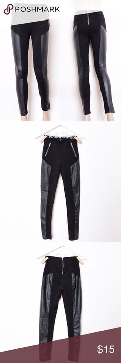 """Black Faux Leather High-Waisted Moto Pants H&M ⑊ no size tag (fits like 2/XS-4/S)  ⌁ Measurements: 24"""" waist 10"""" rise 32"""" hip 27"""" inseam  ⌁ Material: unknown  ⌁ Condition: Used a couple of times. I cut off the brand/size/material tags. No visible wear!  Comment below if you have any questions. Please make all offers using the """"offer"""" button. No trades. No holds. Comes from a smoke-free/pet-free home. Not responsible for lost/damaged mail. All sales are final. ♡ H&M Pants Skinny"""