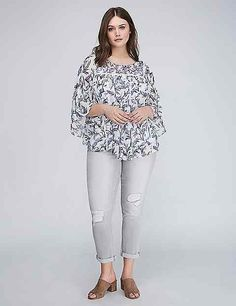 Printed Chiffon Circle Top | Lane Bryant