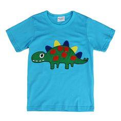 Sale 14% (5.99$) - 2015 New Lovely Dinosaur Baby Children Boy Pure Cotton Short Sleeve T-shirt Top