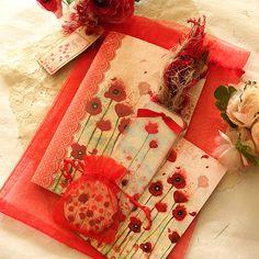 Christmas Gift Set  Poppies by Minasmoke on Etsy, $24.00