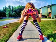 Retro camera/rollerblades