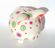 Personalized Piggy Bank Custom Hand-painted por SamselDesigns Personalized Piggy Bank, Double Dot, Cute Piggies, Piggy Banks, Money Box, Ceramic Painting, Paper Mache, Color Show, All The Colors