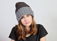 Gray wool hat  Brown beanie  Brown and gray by Isabellwoolstudio
